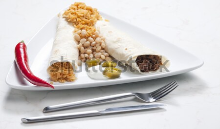 beef burritos with beans and rice Stock photo © phbcz