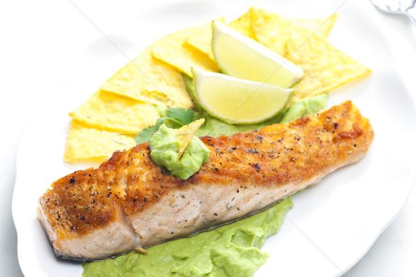 Grillowany łososia filet awokado sos nachos Zdjęcia stock © phbcz