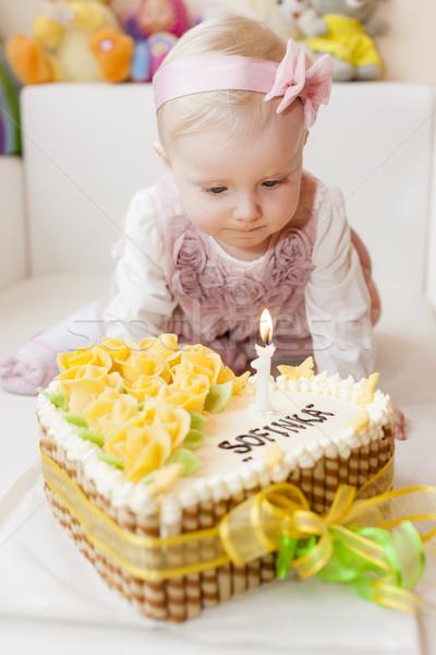 Portré ül kisgyerek lány születésnapi torta étel Stock fotó © phbcz
