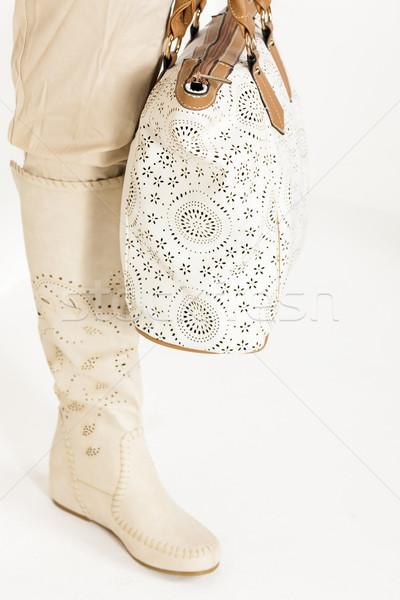 Detalle pie mujer verano botas Foto stock © phbcz