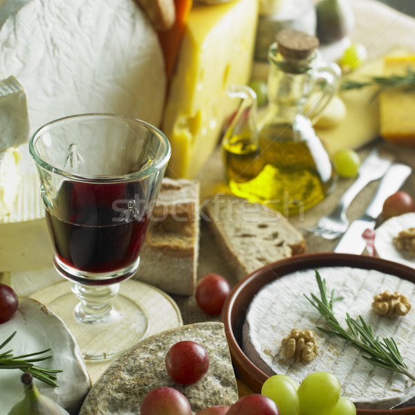 Stock photo: cheese still life with red wine