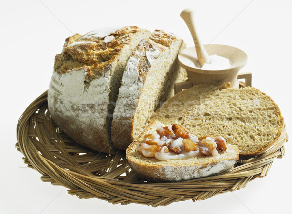 bread with lard and scraps Stock photo © phbcz