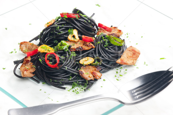 Сток-фото: сепия · спагетти · Турция · мяса · чили · продовольствие