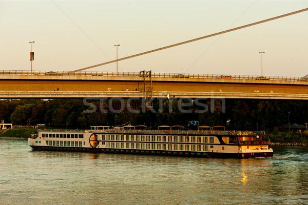 New Bridge and cruise ship, Bratislava, Slovakia Stock photo © phbcz
