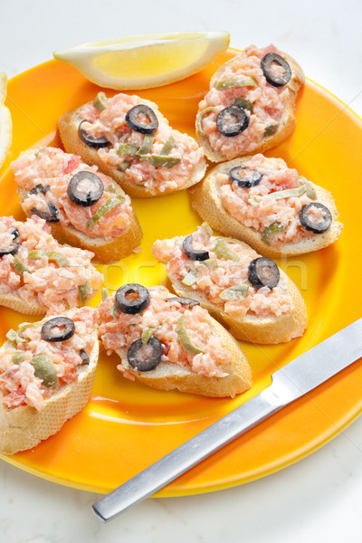 salmon tartare with capers and black olives Stock photo © phbcz