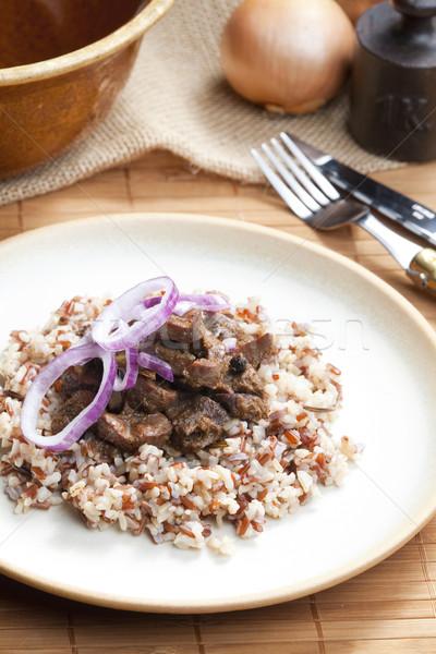 Varkensvlees nier ui wild rijst voedsel Stockfoto © phbcz
