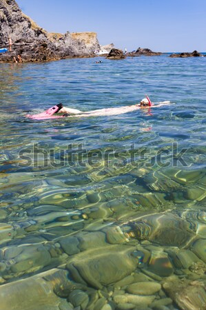 snorkeling in Mediterranean Sea, France Stock photo © phbcz