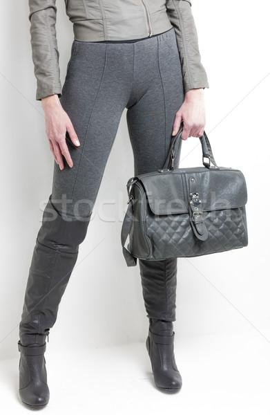 Szczegół stałego kobieta szary buty Zdjęcia stock © phbcz