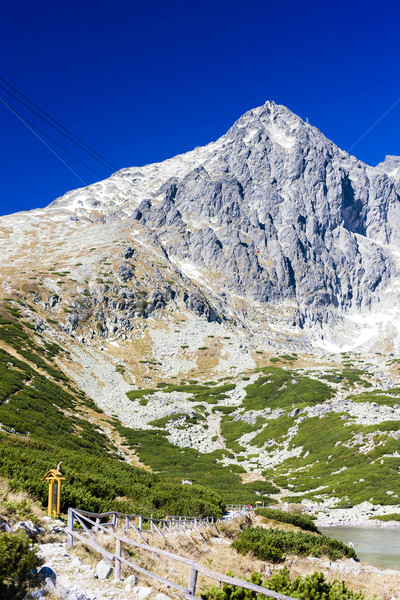 Csúcs magas tájkép hegyek tó Európa Stock fotó © phbcz