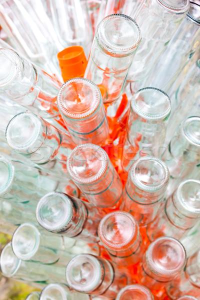 Vazio garrafas vinho cremalheira vidro fundo Foto stock © phbcz