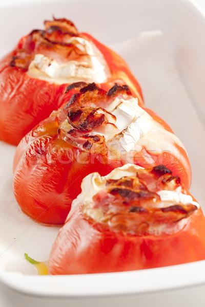 Stockfoto: Gebakken · tomaten · geitenkaas · plaat · groenten · plantaardige