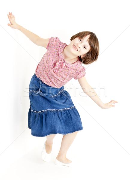 Dziewczyna niebieski spódnica dziecko dziecko Zdjęcia stock © phbcz