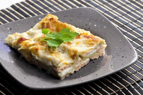 Foto d'archivio: Spinaci · lasagne · salmone · alimentare · pesce · piatto
