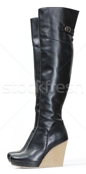 Divatos vágány fekete csizma stílus Stock fotó © phbcz