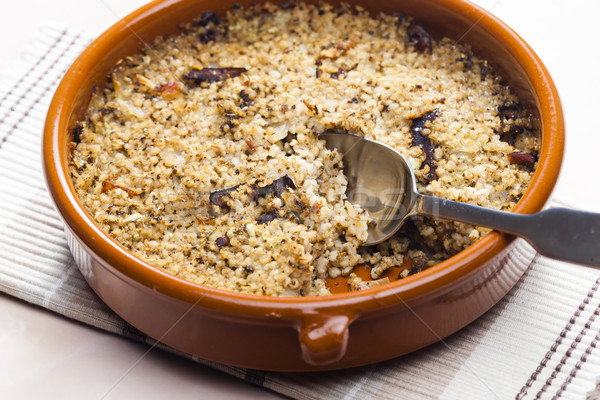 pot barley with mushrooms (called kuba - Czech meal) Stock photo © phbcz