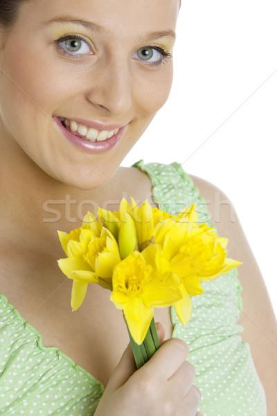 肖像 女性 水仙 花 小さな だけ ストックフォト © phbcz