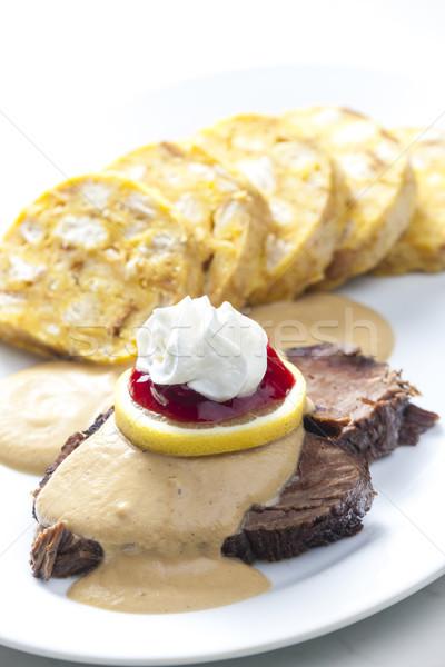 Solomillo crema placa carne limón comida Foto stock © phbcz