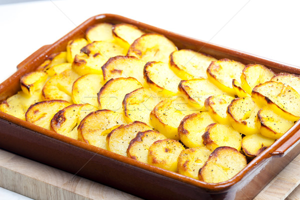 potatoes baked with pork minced meat and red cabbage Stock photo © phbcz