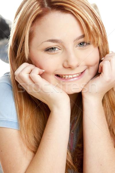 Fekszik portré nő fiatal egyedül fiatalság Stock fotó © phbcz
