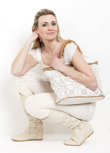Femme été bottes sac à main t-shirt Photo stock © phbcz