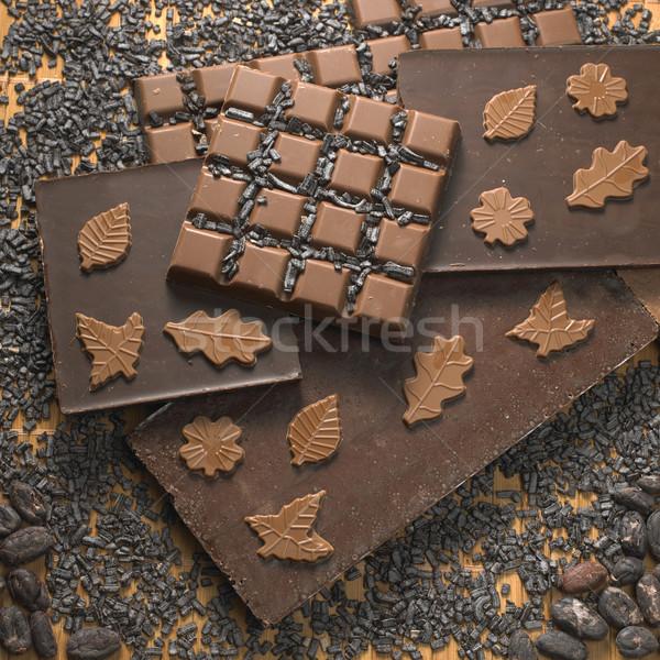 Chocolade stilleven achtergronden eten snoep bonen Stockfoto © phbcz