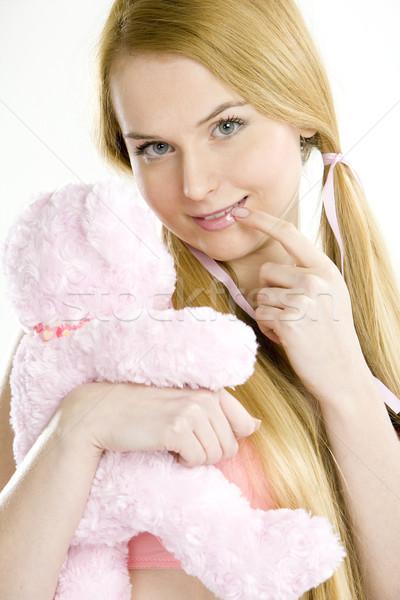 Foto stock: Retrato · mujer · osito · de · peluche · manos · mano · juguetes