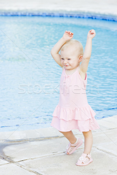 little girl at swimming pool, Tobago Stock photo © phbcz