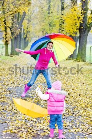 Сток-фото: девочку · зонтик · девушки · дети · ребенка · джинсов