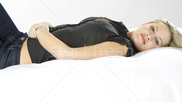 lying woman Stock photo © phbcz