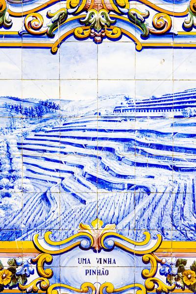 Piastrelle stazione ferroviaria valle Portogallo blu pittura Foto d'archivio © phbcz
