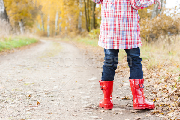 detail of little girl wearing rubber boots in autumn Stock photo © phbcz