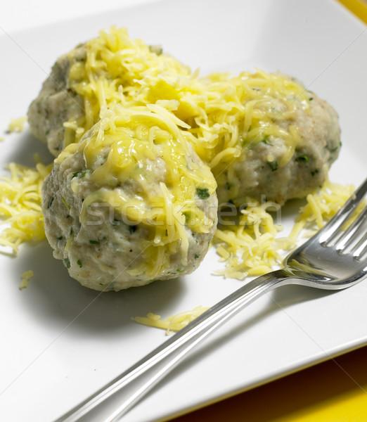 Knoflook kruiden kaas voedsel plaat vork Stockfoto © phbcz