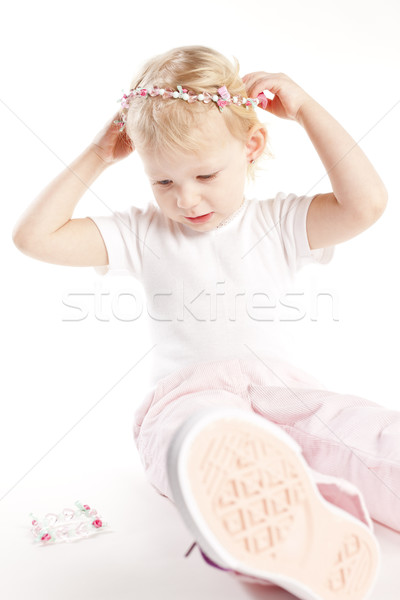 Sessão little girl colar menina criança Foto stock © phbcz