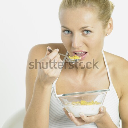 Retrato mujer plátano salud frutas jóvenes Foto stock © phbcz