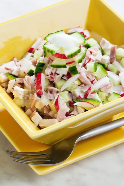 チキンサラダ キュウリ 食品 フォーク サラダ ストックフォト © phbcz