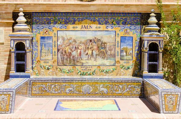 tile painting, Spanish Square (Plaza de Espana), Seville, Andalu Stock photo © phbcz