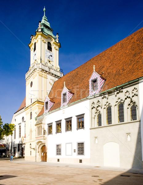 Oude binnenstad hal Bratislava Slowakije gebouwen architectuur Stockfoto © phbcz