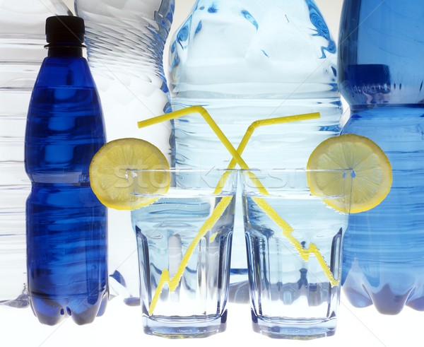 воды натюрморт очки синий пить бутылок Сток-фото © phbcz
