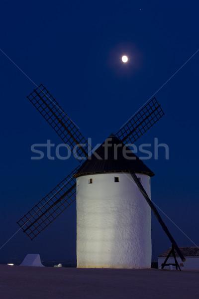 ストックフォト: 風車 · 1泊 · スペイン · 月 · 旅行 · 暗い
