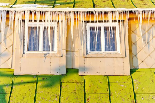 Casa de campo montanhas inverno República Checa edifício neve Foto stock © phbcz