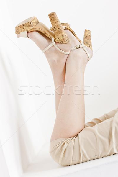 Stockfoto: Detail · vrouw · zomerschoenen · vrouwen · stijl