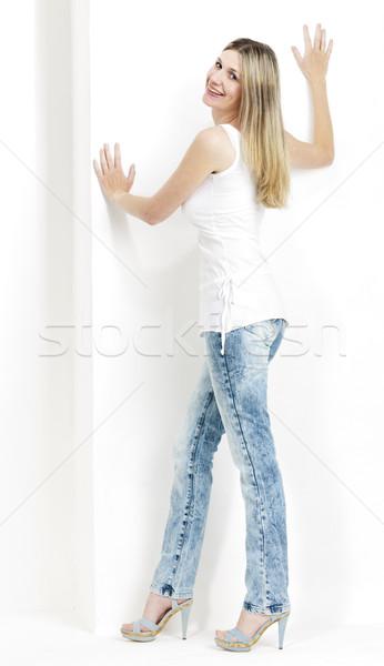 Permanente vrouw jeans zomerschoenen vrouwen Stockfoto © phbcz