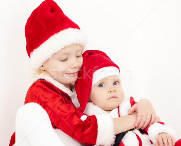 Zwei Kind Porträt rot Stock foto © phbcz