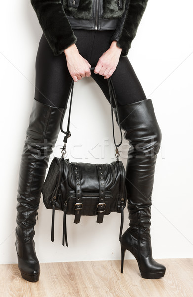 detail of standing woman wearing black clothes and boots with a  Stock photo © phbcz