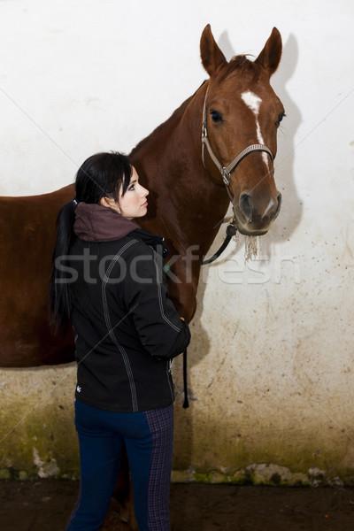 лошади стабильный женщины молодые Постоянный Сток-фото © phbcz