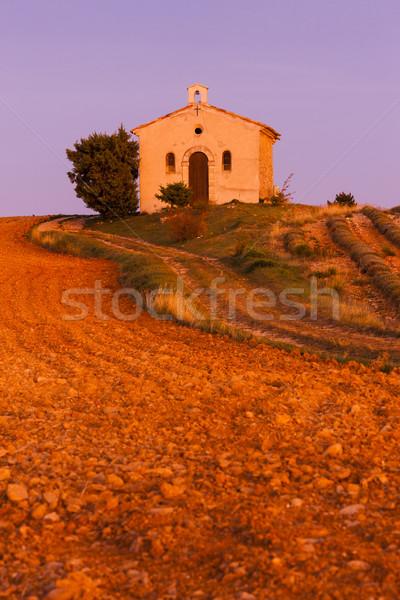 Kápolna levendula mező fennsík épület utazás építészet Stock fotó © phbcz