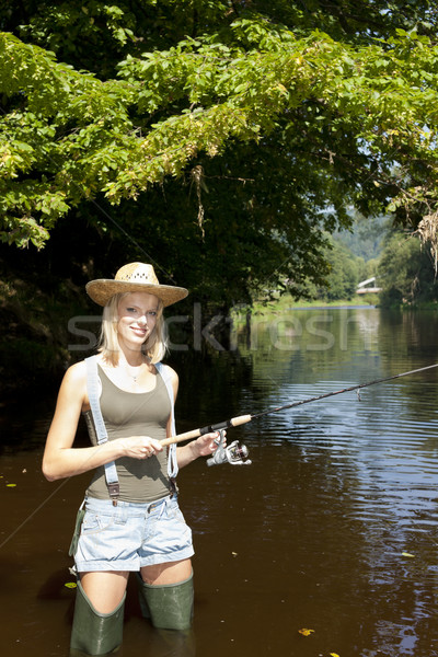 woman fishing in Jizera river, Czech Republic Stock photo © phbcz