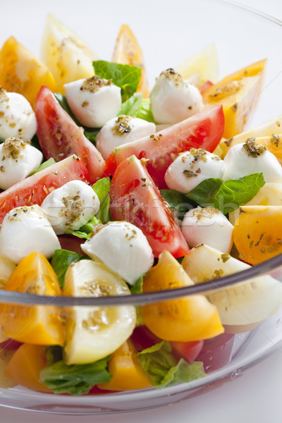 tomato salad with mozzarella cheese Stock photo © phbcz