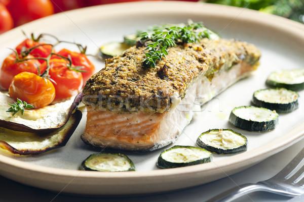 Сток-фото: лосося · травы · продовольствие · овощей · растительное