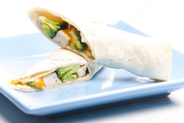 burrito with chicken meat and broccoli Stock photo © phbcz